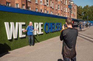 Fans taking pictures of the We Are Chelsea installation