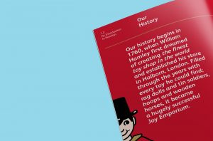 Typographic detail of page from Hamleys Marketing Guidelines