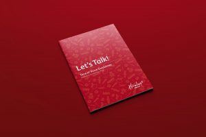 Cover of Hamleys Marketing Guidelines featuring red pattern graphic, titled Let's talk! Tone of voice guidelines