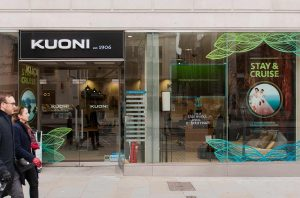 Kuoni's store front, window graphic from Stay&Cruise campaign