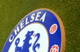 Chelsea crest installation on astroturf at Stamford Bridge, top detail