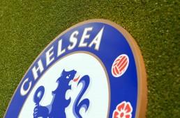 Chelsea crest installation on astroturf at Stamford Bridge, top detail