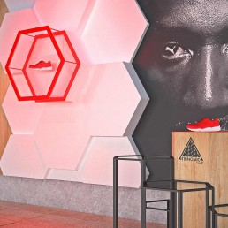 Close-up of PUMA Global Retail Trinomic display and installation